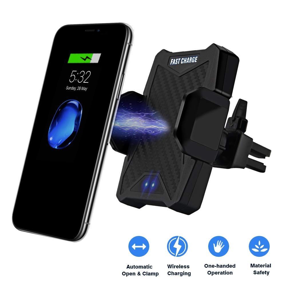 Automatic Wireless Car Charger,Infrared Sensor Car Phone Mount,Air Vent Phone Holder,Qi Fast Charger Compatible for iPhone Xs Max/XR/X/8/8 Plus/Samsung Galaxy S9/8/7/Note 8 and other Qi Enabled Phones