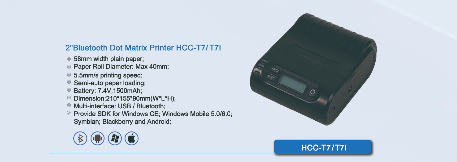 2 Inch Mini Bluetooth Portable Handheld Android Dot Matrix Printer HCC-T7BT
