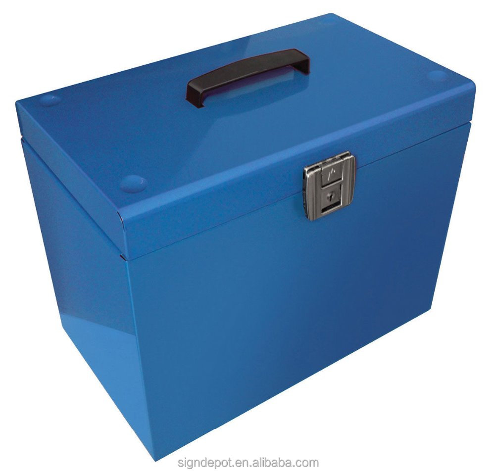 WELDON Portable Locking Steel Security Office File Box