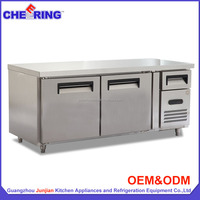 Stainless steel commercial undercounter refrigerator freezer with CE approval for hotel in china (TG1.5L2)