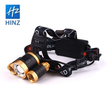 HINZ 3 * <span class=keywords><strong>CREE</strong></span> XM-L T6 rechargeable high power led senter dengan 2*18650 1500 ml baterai