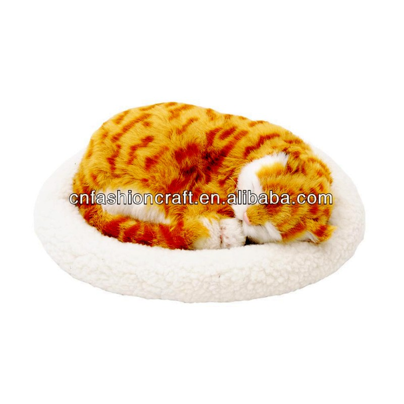 Emulation Sleeping Breathing Lazy Cute Cat Toy Pet with Woolen Bed for Kids