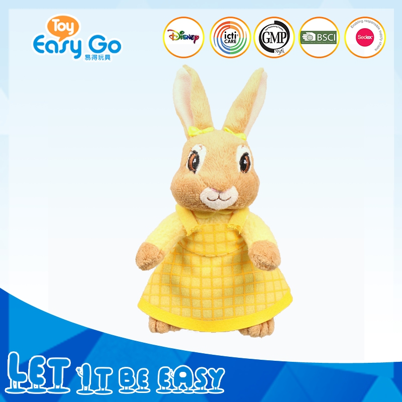 China Toy Factory Plush Toy Wearing Yellow Long Dress Bunny Peter Rabbit