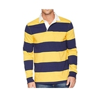 OEM Men's Sewn Stripe Long Sleeve Rugby Sports Polo Shirt 100% Cotton