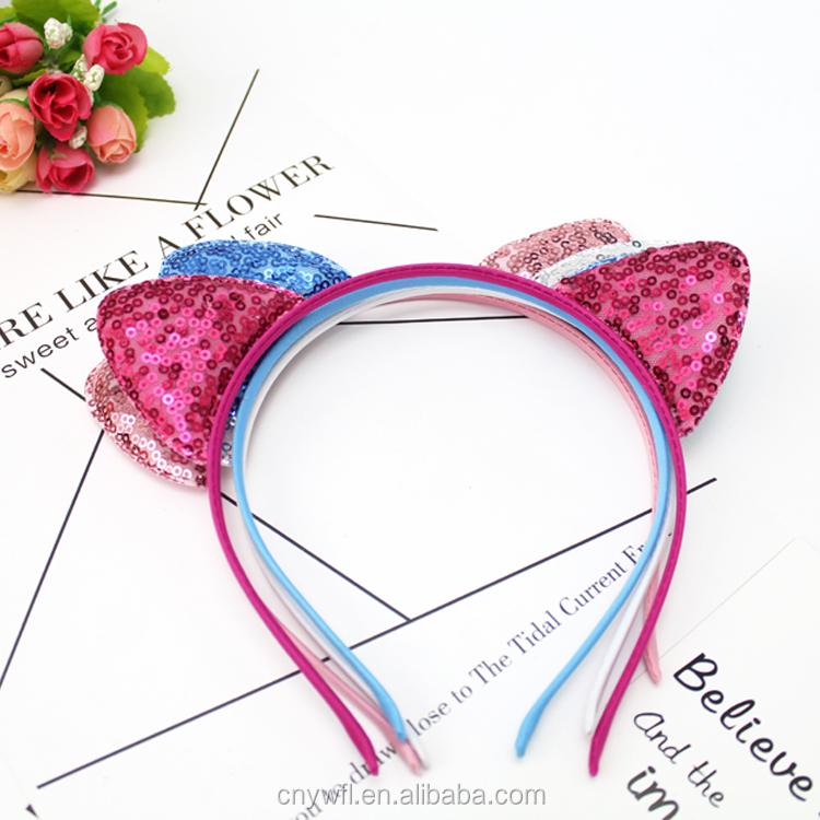 Wholesale Fashion Paillette Cat Ear Hairband Hair Band Hair Hoop hair band