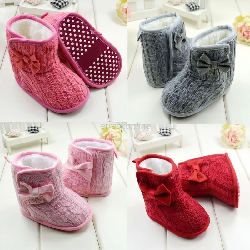 Baby Girl Boy Snow Boots Knit Bowknot Faux Fleece Soft Sole Kids Woolen Yam Knit Fur