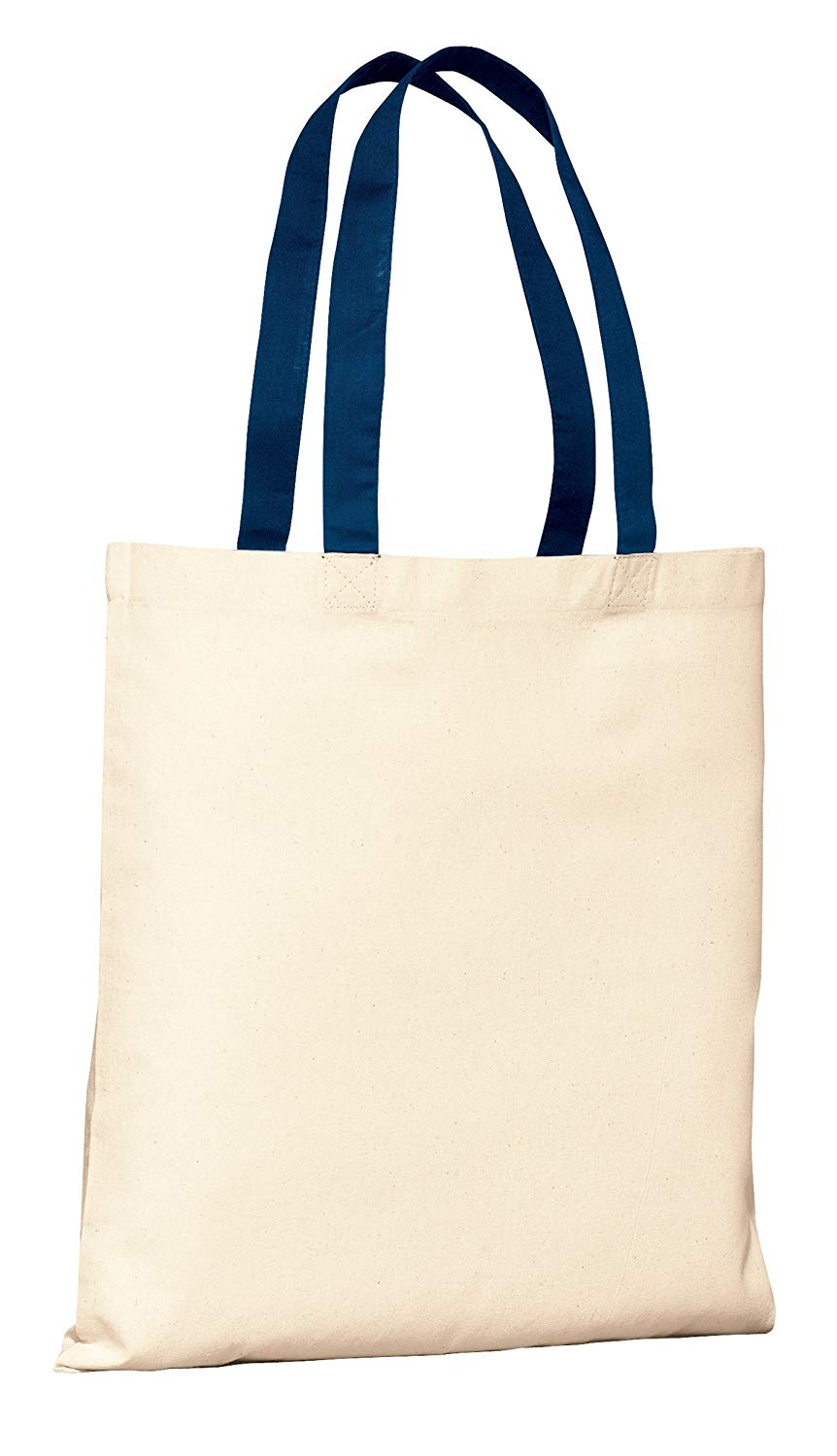 Budget Friendly Reusable 100% Cotton Tote Bag with Color Handles | Cotton Canvas Tote Bags in Bulk | Reusable and Eco Friendly Cotton Tote Bags Wholesale by BagzDepot (12, Navy)