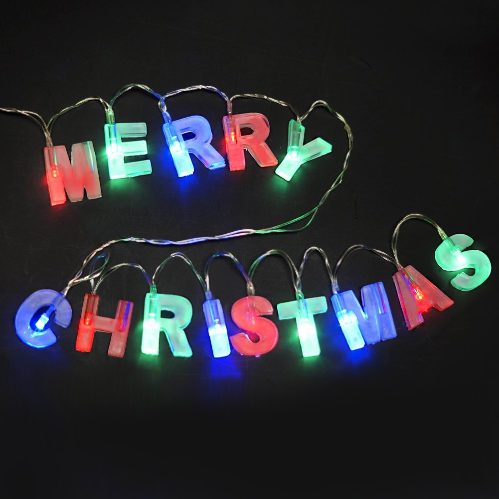 """BRIGHT ZEAL Multicolor Letter-Shaped """"MERRY CHRISTMAS"""" LED String Lights with Switch and Batteries - Christmas Decorations Home Decor - Christmas Signs Party Supplies (3 Colors, Gift Set)30210"""