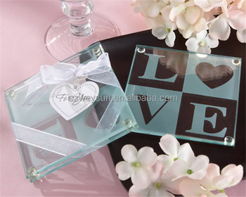wedding favor and wedding giveaways love glass coaster set party gift