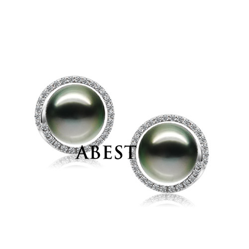 925 Silver 9-9.5mm Black Real Natural Tahitian Pearl Earrings, Luxucy Stud Jewelry Graceful Jewellery