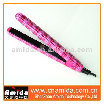 Stripe Printing Mini Rotating Hair Straightening Brush