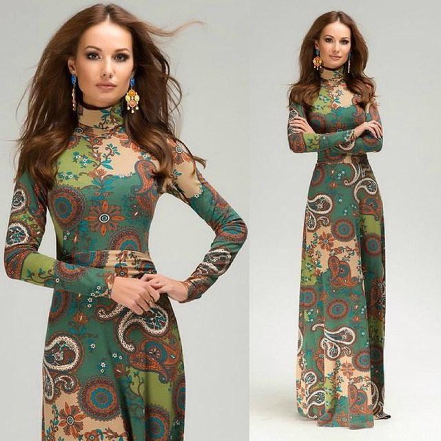 Платье воротник-хомут винтажный полный лето, очаровательная Colorful печать макси рукав длинная