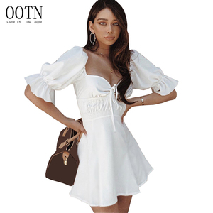OOTN Female Vestidos Women Summer Mini Dress High Waist Short Butterfly Sleeve Sexy Sundress Square Collar White Tunic Dress