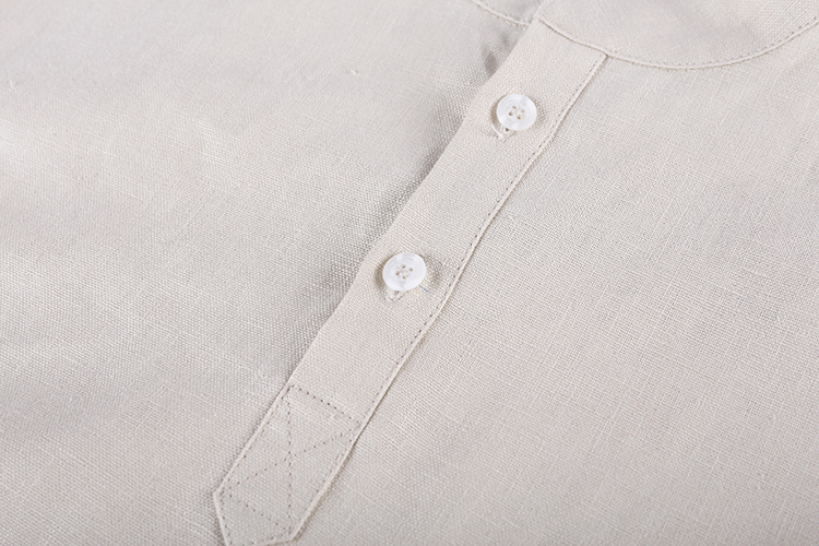 New Arrival Classic Italian Style Khaki Man Formal Stand Italian Collar Linen New Design Casual Full Polo Shirt Long Sleeve