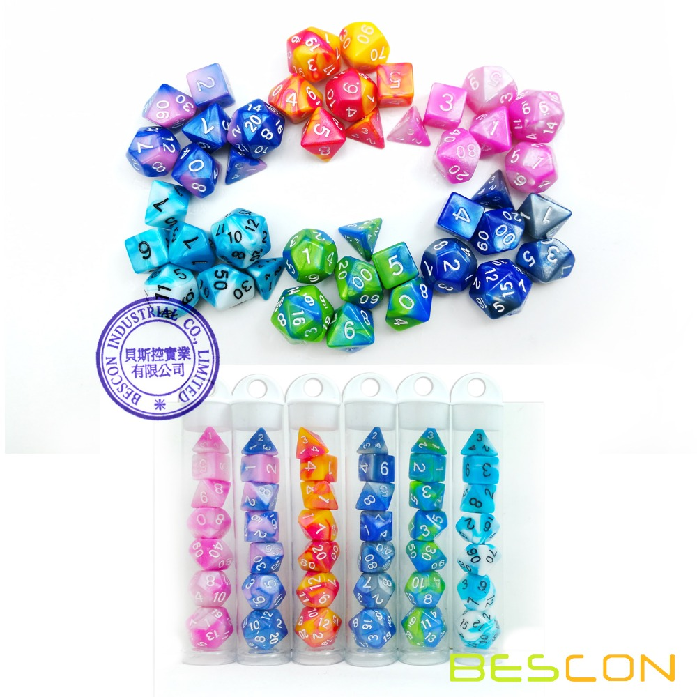 Bescon Mini Gemini Two Tone Polyhedral RPG Dice Set 10MM, Mini RPG Dice Set D4-D20 in Tube Packaging, Assorted Colored of 42pcs фото