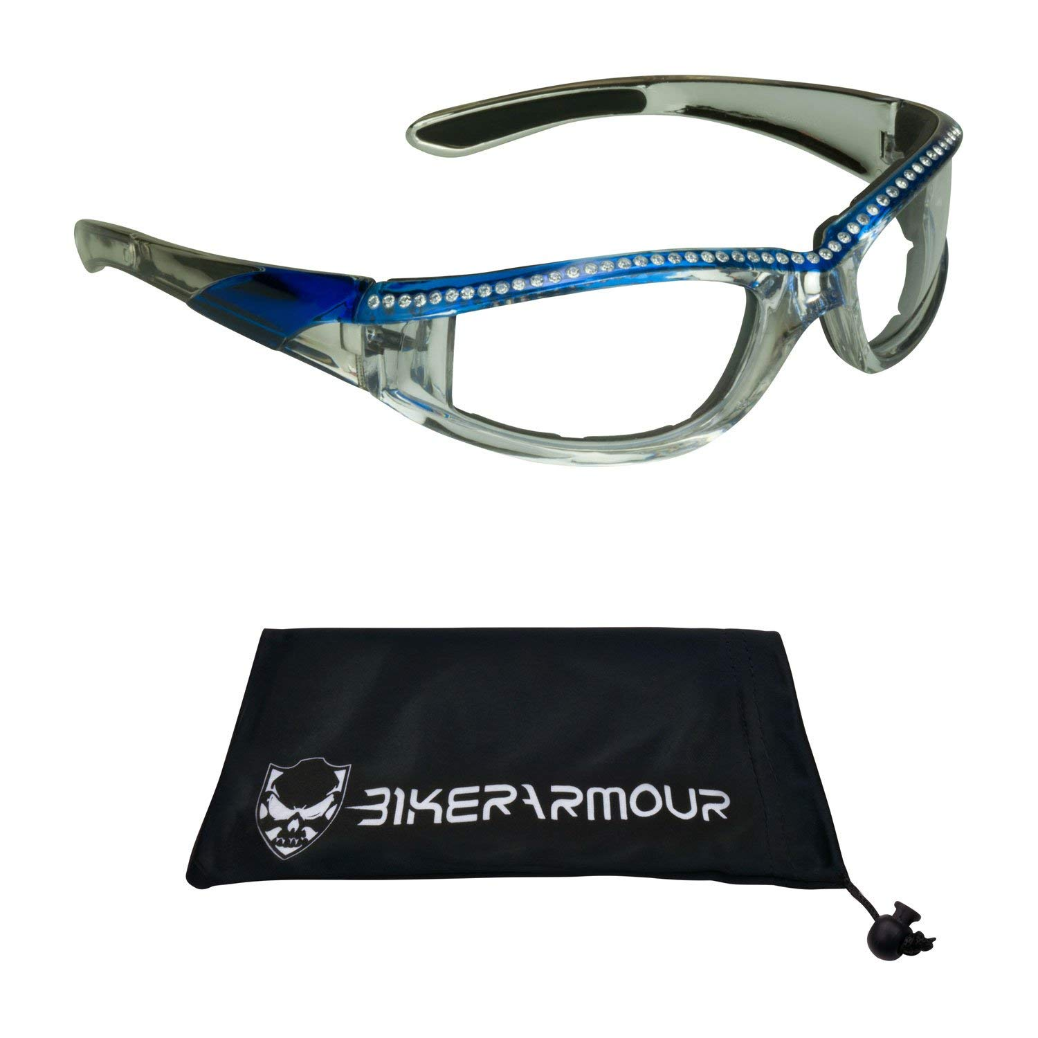 8fbdb82d3ee Get Quotations · Motorcycle Day Night Transition Glasses for Women. Chrome  and Black frame with rhinestones (Blue
