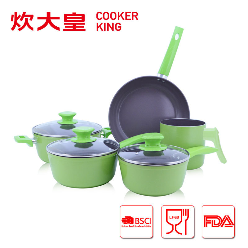 8pcs forged aluminium cookware sets with dark grey ceramic coating