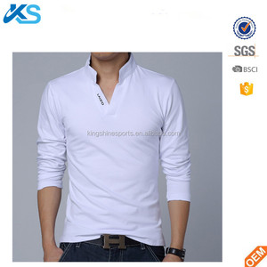 wholesale 100% polyester jersey dry fit plain dyed stand collar neck long sleeve blank men t shirt