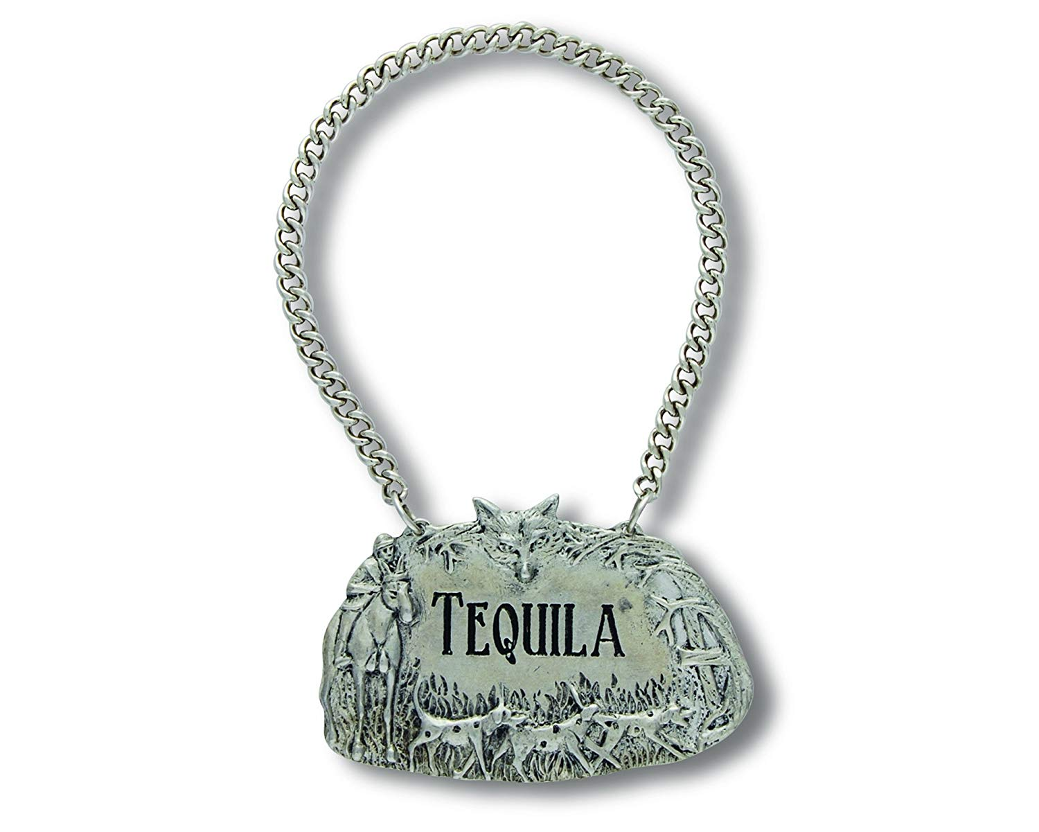 "Vagabond House Embossed Pewter Hunting Scene TEQUILA Decanter Tag/Liquor Bottle Label 2.5"" Wide"