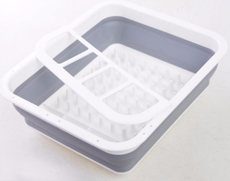 Plastic Collapsible Dish Drying Rack with Arms Foldable Sink Dish Drainer