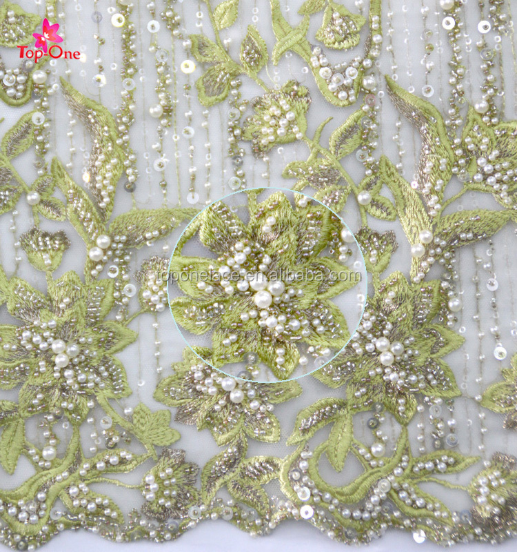 2017 Top Quality Wedding Dress Material Embroidery Lace Fabric/Sequins And Beaded Lace Fabrics/Pearl Lace
