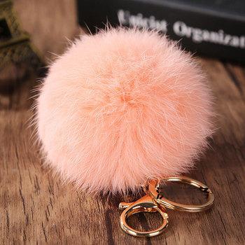 276efc17f825 18 K Gold Plated Keychain With Plush Cute Genuine Rabbit Fur Pom Pom  Keychain For Car