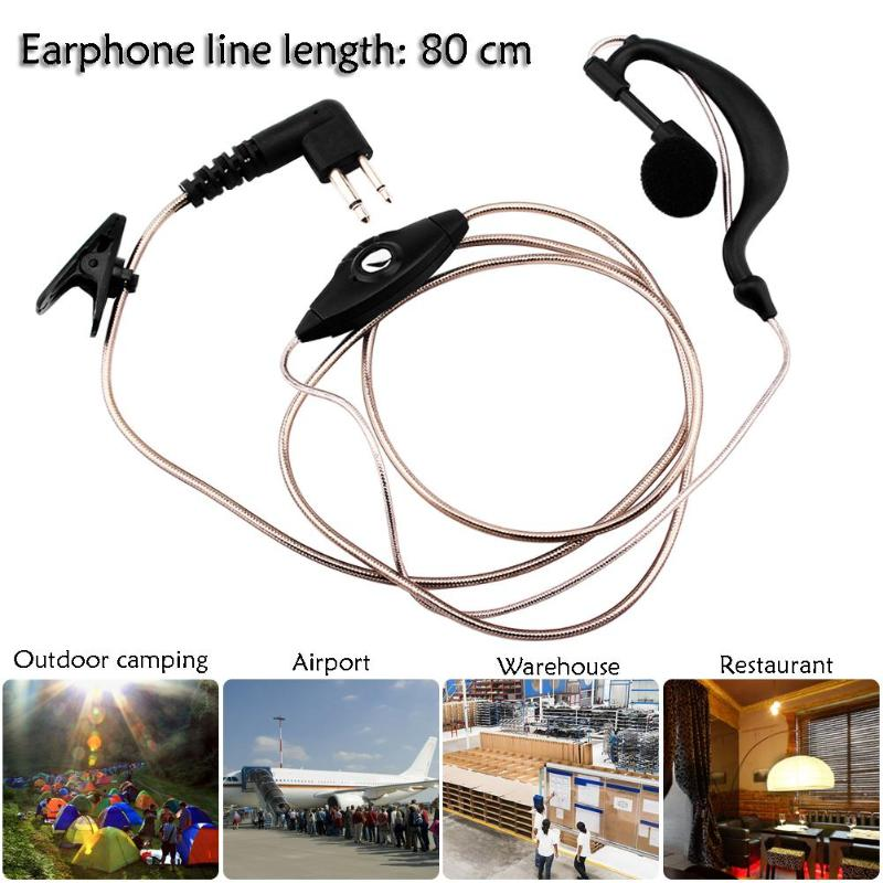 2 Pin PTT Mic Earpiece Earphone Clip Design Headset Headphones for Walkie Talkie Radio for Outdoor Camping Bodyguards