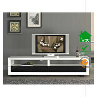 TV-3030 White high gloss lcd tv stand with black drawers