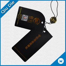 Die cutting black cardboard Paper Printing Hang Tag Gold Foil With A String Cord