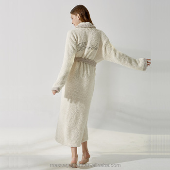 Personalised Wedding Hooded Towelling Dressing Gown White With