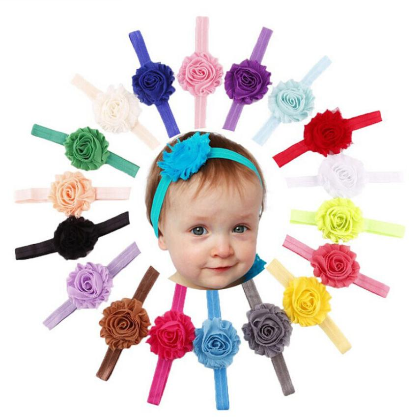 2015new 18PCS Babys Girls Elastic Shabby Flower Headband Photography Headbands