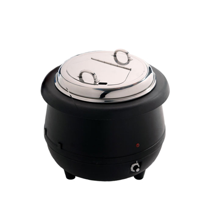 C105 10L Round Black Countertop Food / Soup Kettle / Buffet Electric Soup Pot Warmer