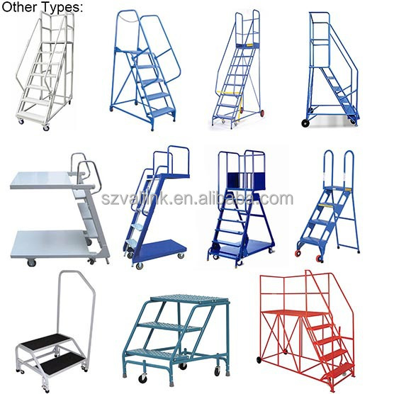 Warehouse Steel Safety Rolling Mobile Platform Ladder With