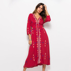 2019 Latest Summer Thai National Style Embroidered V Neck Long Sleeve Casual Maxi Dresses Women With Drawstring