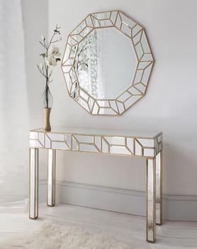 Geometria Gold Mirrored Console Table Round Mirror Set Black Crystal Diamond Telite Modern