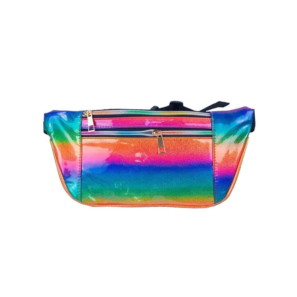 Andear Shiny Holographic Laser Bumbag Waterproof Fanny Pack Sports Hiking Running Waist Bag Hip Pack