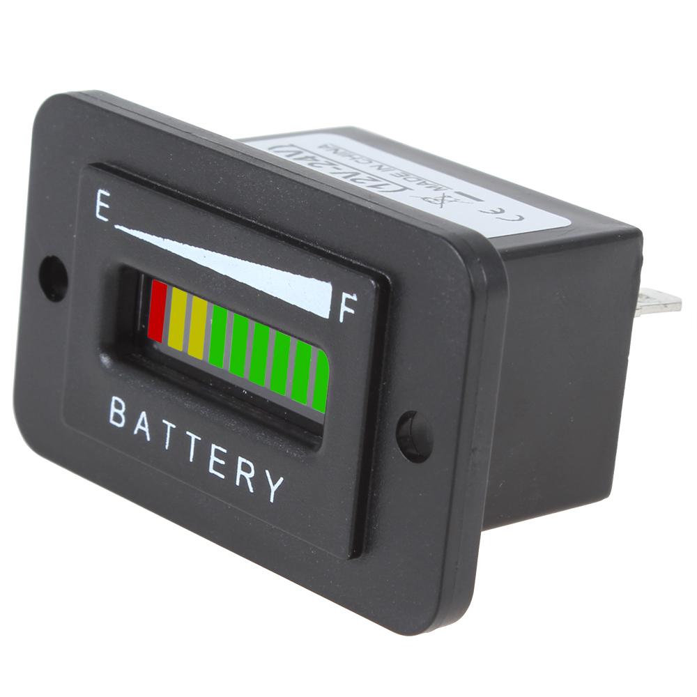 12 V 24 V аккумулятор заряд индикатор монитор метр измеритель прямоугольная три - цвет 10-Bar из светодиодов аккумулятор заряд индикатор состояния
