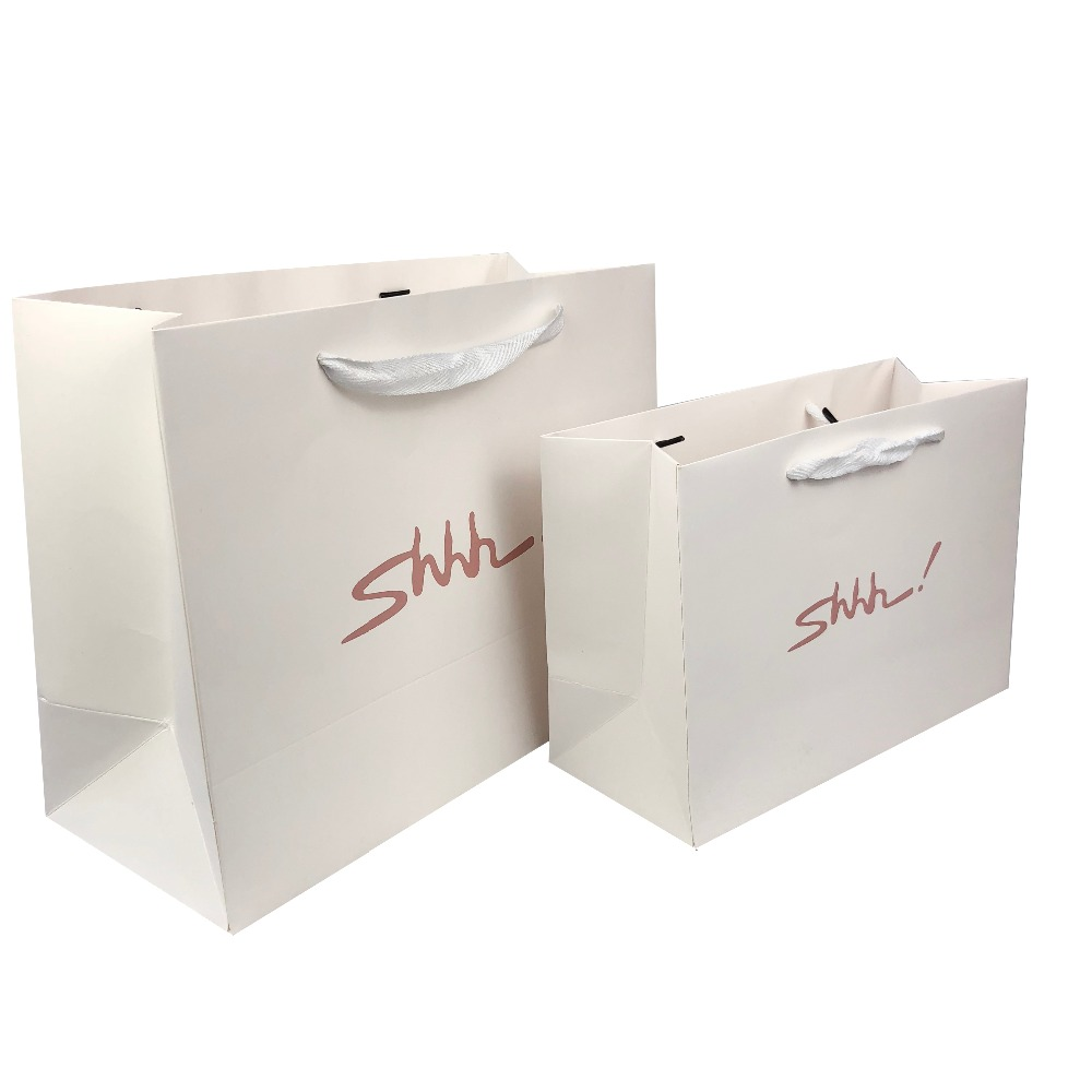 2019 Fancy Recycle Custom Printing Logo Gift Paper Bags with Satin Ribbon