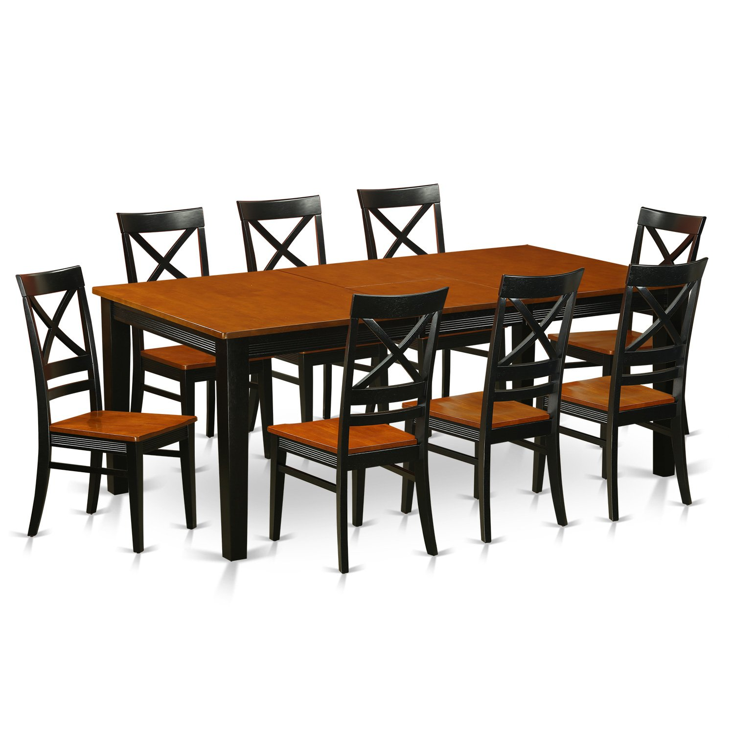 Get Quotations · East West Furniture QUIN9 BLK W 9 Piece Dining Table Set,  Black