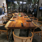 ideal more design restaurant dining square walnut wood slab live edge table top