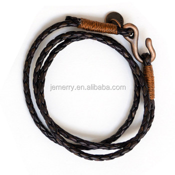 Handmade Jewelry Rope And Leather Cord Brass Plated S Hook Bracelet For Men With Tag