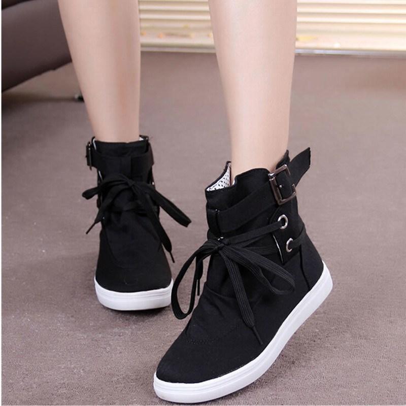 cc40001a2918 Продвижение женщин пряжки ремня квартиры обувь дамы женский свободного  покроя кружева высокий верх холст дышащая обувь для ходьбы