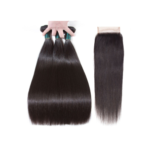 Wholesale Grade 10A Names Of Human Hair Straight 100 Brazilian Cuticle Aligned Raw Virgin Hair Bundles with 4x4 Closure