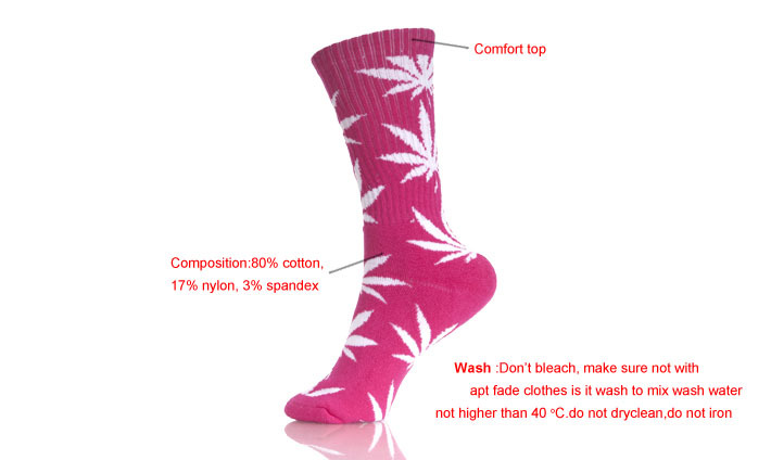 Weed Pattern Peach Sports Comfortable 100%  Hemp Socks Woman
