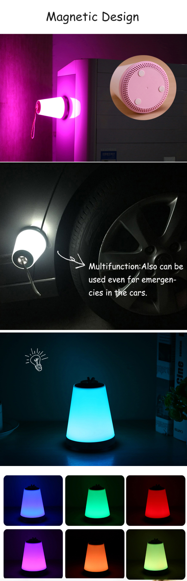 China hot sale multifunctional vehicle hanging portable rechargeable emergency lights with magnetic base