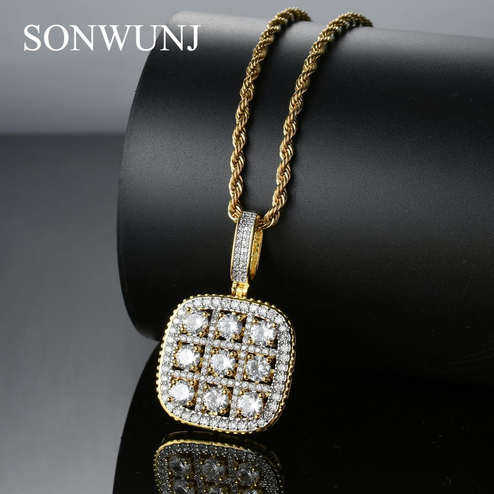 Bling bling Hip Hop Pendant Copper Micro pave with CZ stones Necklace Jewelry for men CN022