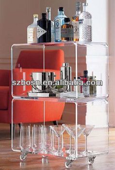 Acrylic wine rack;Perspex food service tray display furniture;