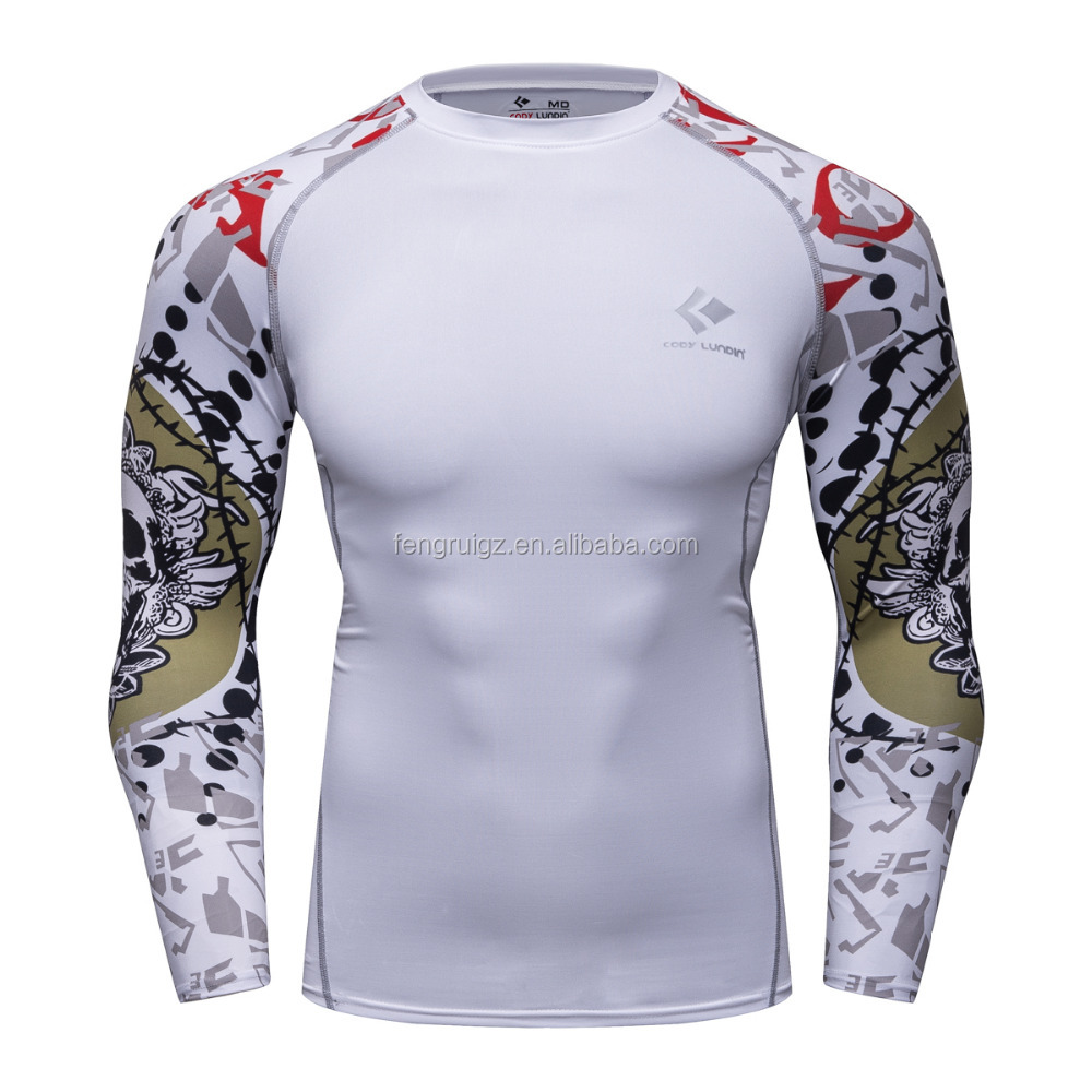 Polyester Advanced 3D Male Print Compression Shirt Slim Fit Skins Tight Long Sleeve Men's Bodybuilding Crossfit Shirt
