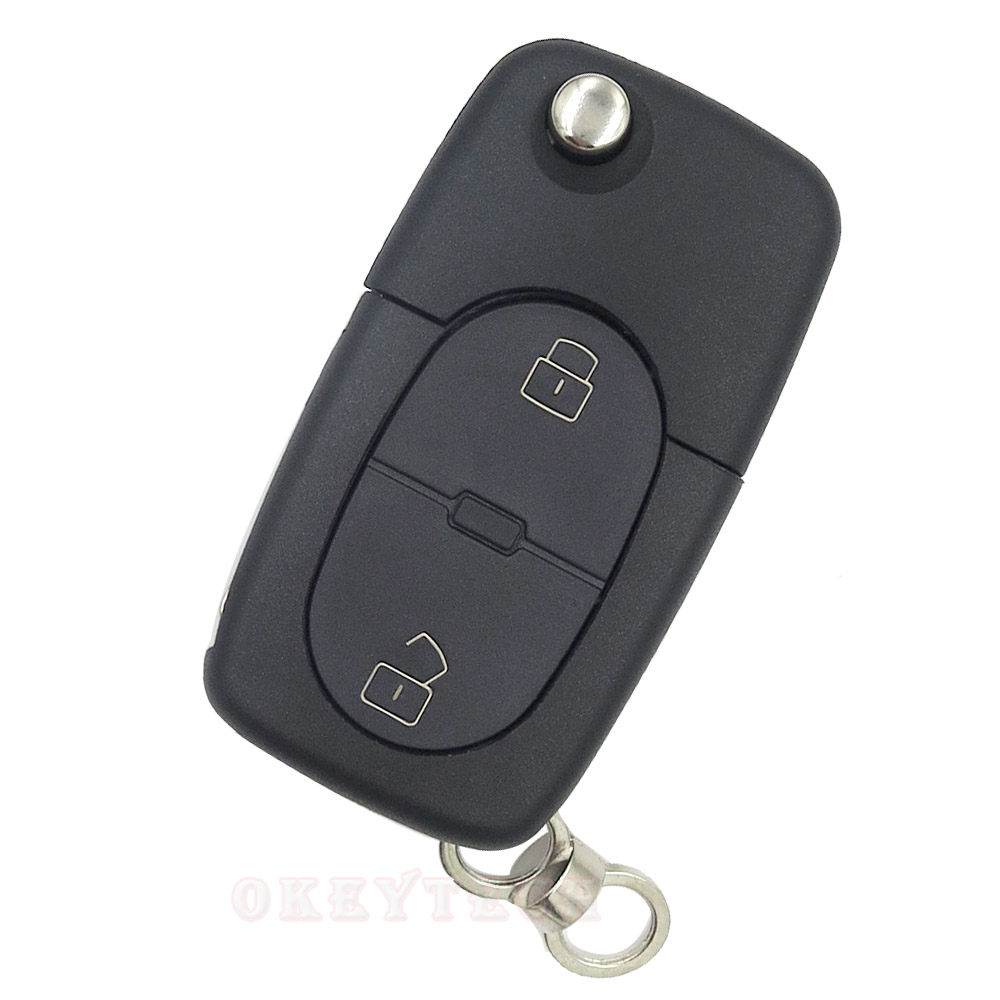 New 2 Buttons Flip Folding Remote Key Shell Blade For Audi A2 A3 A4 b6 b8 a8 a7 TT a6 c6 q5 q7 Fob Blank key Case With audi Logo