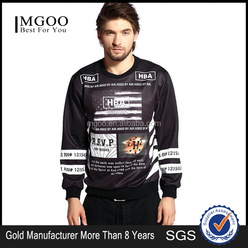 MGOO Professional Custom Digital Flag Printing 3D Men Sweater Casual Printed Knitted Gym Sweat Shirt In Stock